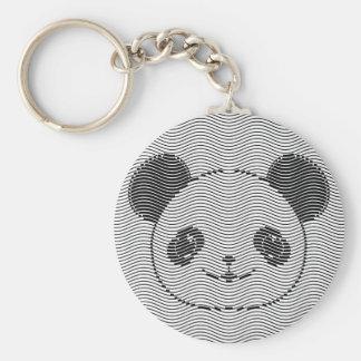 Panda Bear Face On Wave Pattern Key Ring