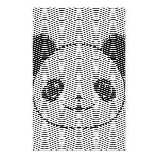 Panda Bear Face On Wave Pattern Stationery