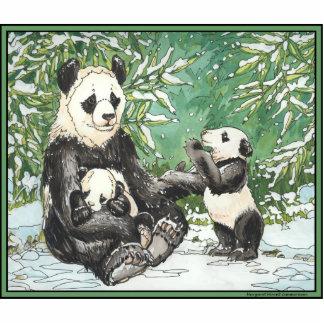 Panda Bear Family in Winter Standing Photo Sculpture