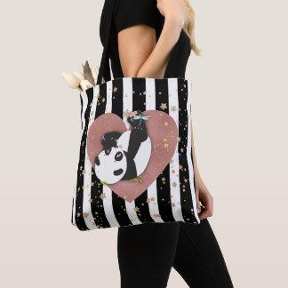Panda Bear Gold Stars Rose Gold Heart Black Stripe Tote Bag