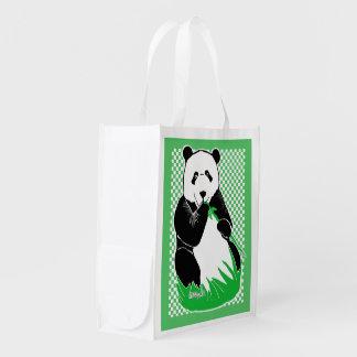 Panda Bear Green Checkered Reusable Grocery Bag