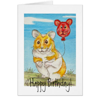Panda Bear Hamster with Red Balloon Card