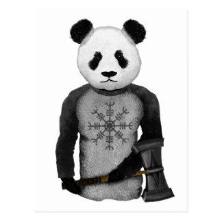 Panda Bear Holding Thor's Viking Hammer Postcard