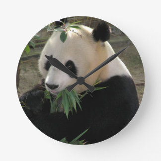 Panda Bear Hugs Round Clock