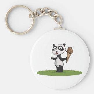 Panda Bear Ice Cream Basic Round Button Key Ring