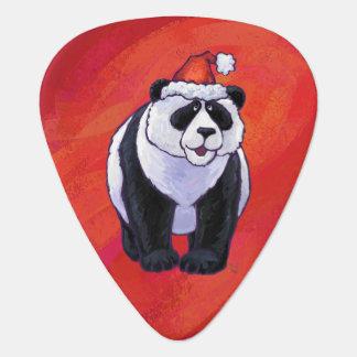 Panda Bear in Santa Hat On Red Guitar Pick