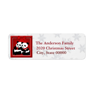 Panda Bear Love Couple RA Return Address Label