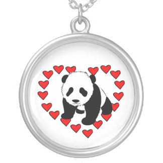Panda Bear Love Silver Plated Necklace