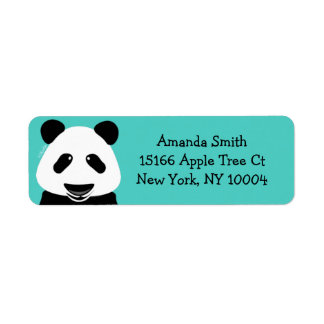 Panda Bear Modern Teal Return Address Label