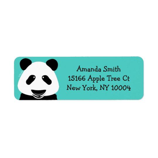 Panda Bear Modern Teal Return Address Label