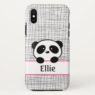 Panda Bear Pink and Black Girly Animal Monogram iPhone X Case
