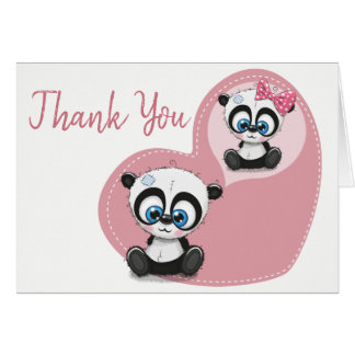 Panda Bear Pink Heart Thank You Wedding Party Card