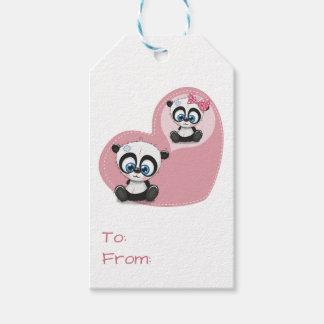 Panda Bear Pink Heart Wedding Party Gift Tags