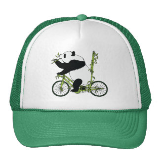 Panda Bear Riding Bamboo Bike Cap