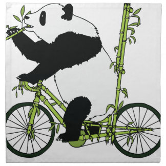 Panda Bear Riding Bamboo Bike Napkin