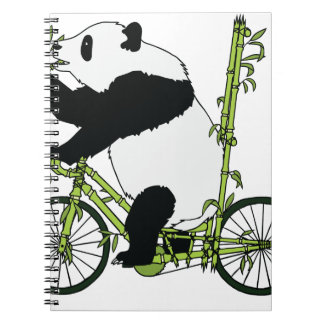 Panda Bear Riding Bamboo Bike Notebooks