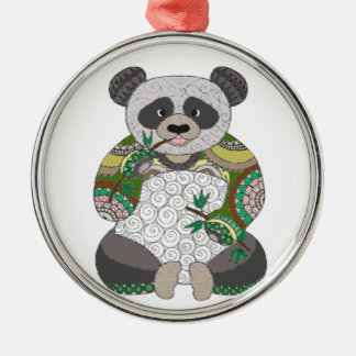 Panda Bear Silver-Colored Round Decoration