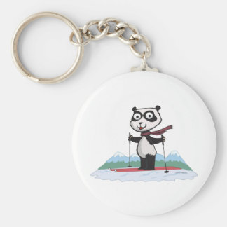 Panda Bear Skiing Basic Round Button Key Ring