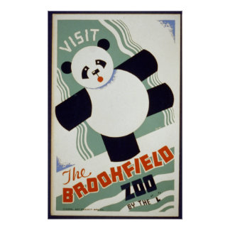 Panda Bear Visit the Brookfield Zoo WPA Poster