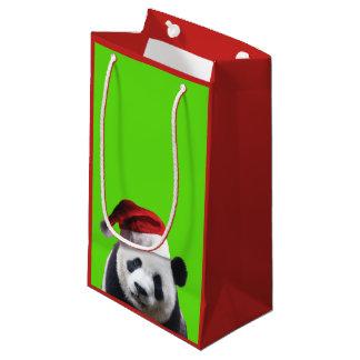 Panda Bear Wearing a Santa Claus Hat for Christmas Small Gift Bag