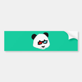 Panda Bear with 3D Glasses Bumper Sticker