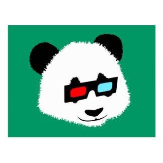 Panda Bear with 3D Glasses Postcard