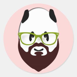 Panda Bear with a Beard Classic Round Sticker