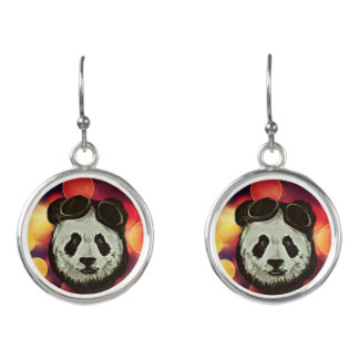 Panda Bear with Bokeh Art Earrings