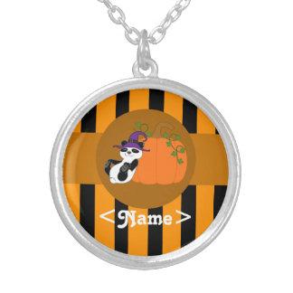 Panda Bear with Pumpkin & Orange Stripes Round Pendant Necklace