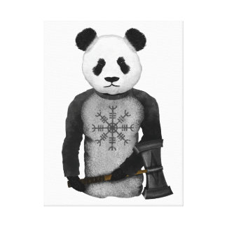 Panda Bear With Thor's Hammer Canvas Print