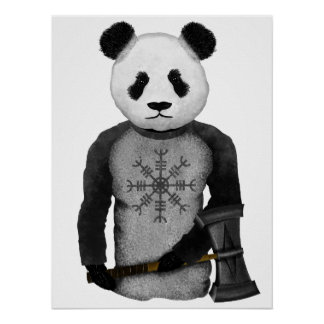 Panda Bear With Thor's Hammer Poster