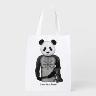 Panda Bear With Viking Hammer Reusable Grocery Bag