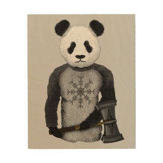 Panda Bear With Viking Hammer Wood Print