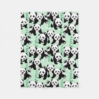 Panda Bears Graphic Pattern Fleece Blanket