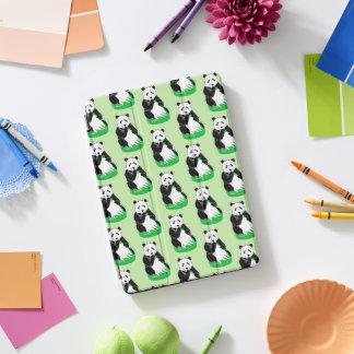 Panda Bears Pattern Light Green iPad Cover