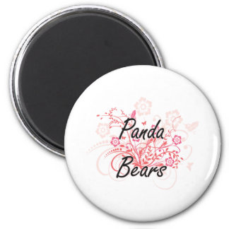 Panda Bears with flowers background 6 Cm Round Magnet