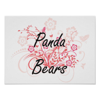 Panda Bears with flowers background Poster