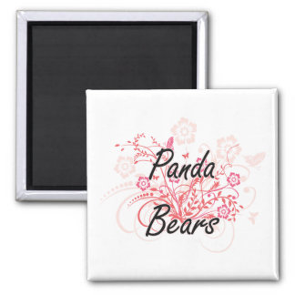 Panda Bears with flowers background Square Magnet