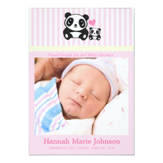 Panda Birth Announcement - Pink