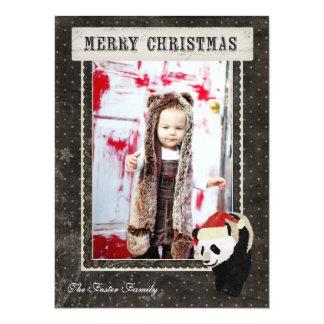 "Panda Black Polkadot Christmas Photo Card 5.5"" X 7.5"" Invitation Card"