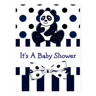 Panda Blue Glitter Dots & Stripes Baby Shower Postcard