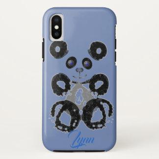 Panda Blue Gray Gem Personalized iPhone X Case
