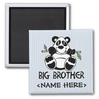 Panda Boy Big Brother Square Magnet