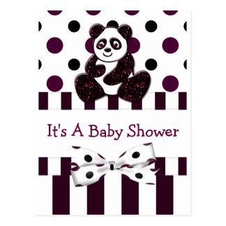 Panda Burgundy Glitter Dots & Stripes Baby Shower Postcard