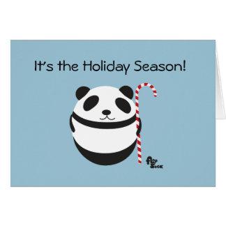 Panda Candy Cane Holiday Card