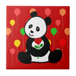 Panda Cartoon and A Heart Flower Ceramic Tile