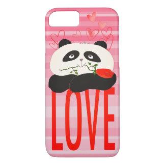 Panda Cartoon Cute Love Girly Pink Stripes Hearts iPhone 8/7 Case