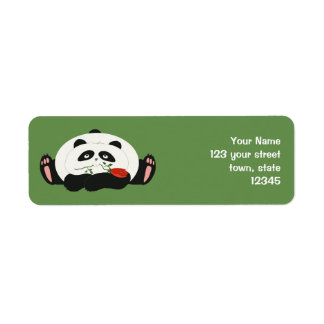 Panda Cartoon Romantic Love Cute Funny with Flower Return Address Label