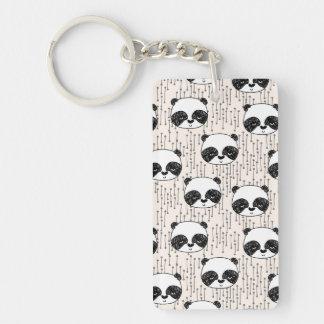 Panda - Champagne Black White / Andrea Lauren Double-Sided Rectangular Acrylic Key Ring
