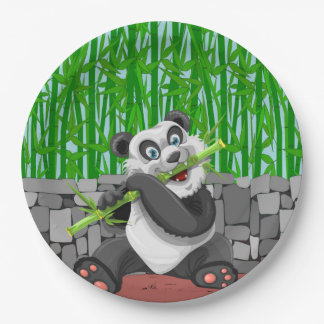 Panda Chewing on Bamboo Shoots Paper Plate